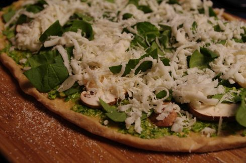 Arugula Pesto Pizza with Spinach and Mushrooms from Full Circle