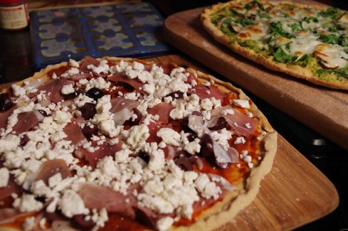 Sun-dried Tomato Pesto Pizza with Prosciutto, Kalamatas and Feta
